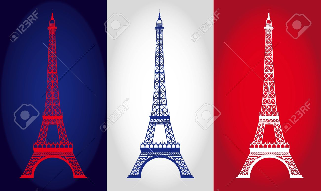 eiffel tower over france flag background vector illustration
