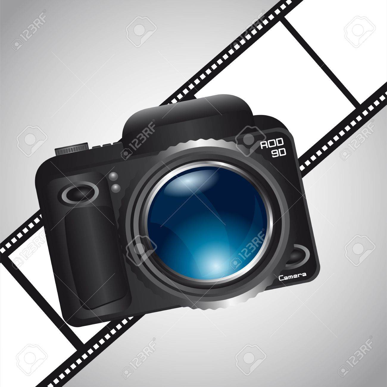 camera over film stripe over gray background. vector illustration Stock Vector - 13755209