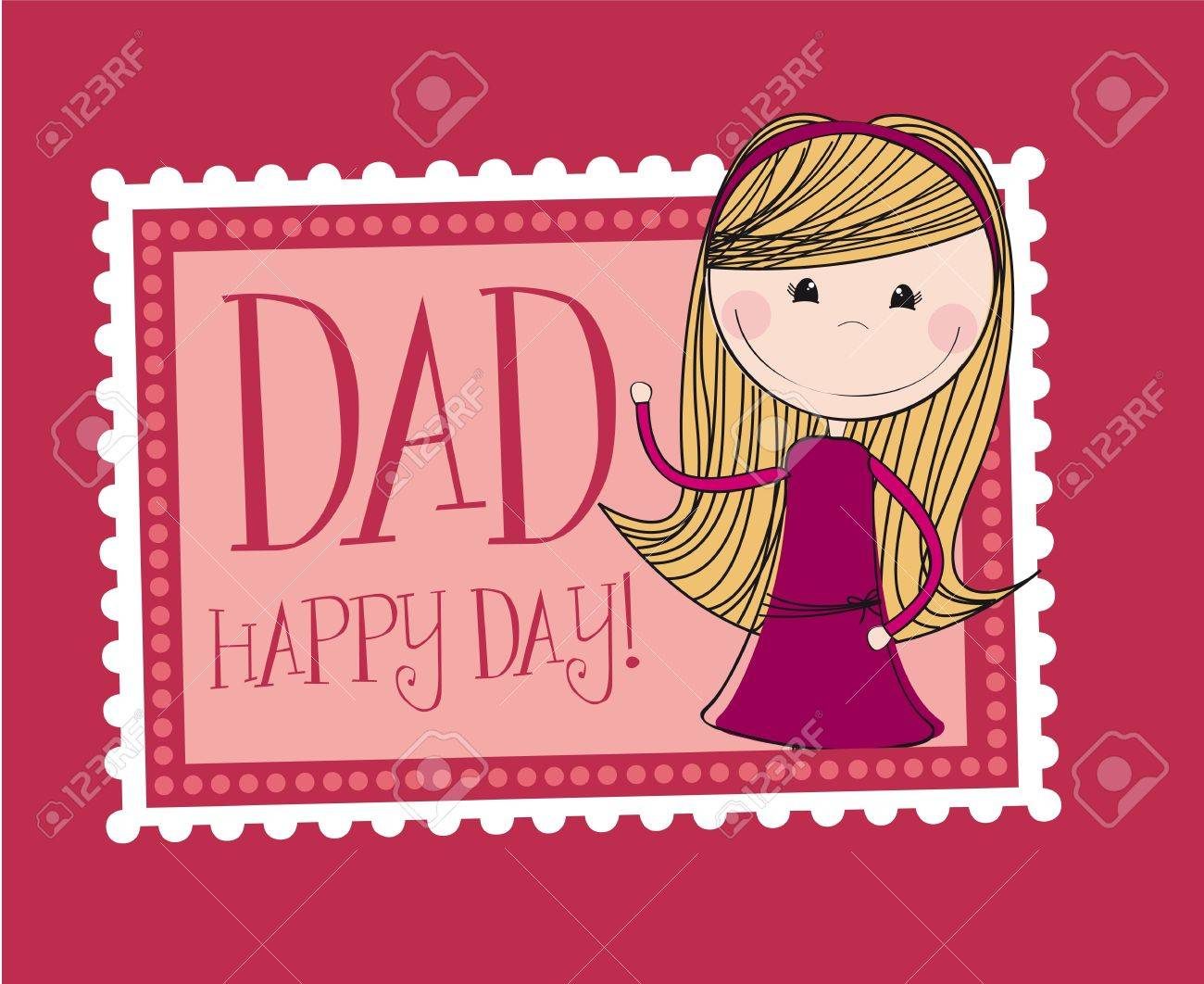 father day card with cute daughter background vector stock vector 13755225
