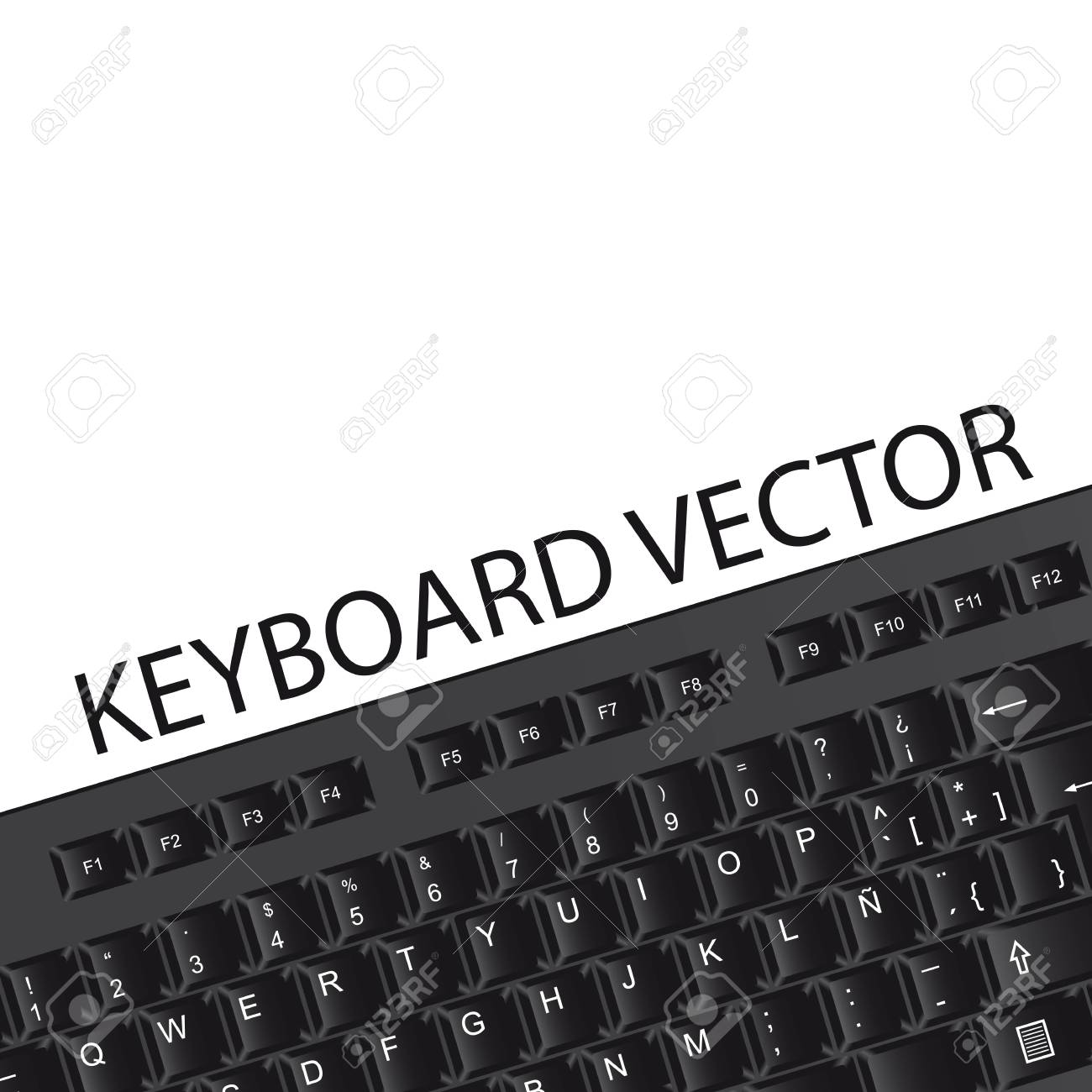 black keyboard with space for copy over white background. vector Stock Vector - 13755295
