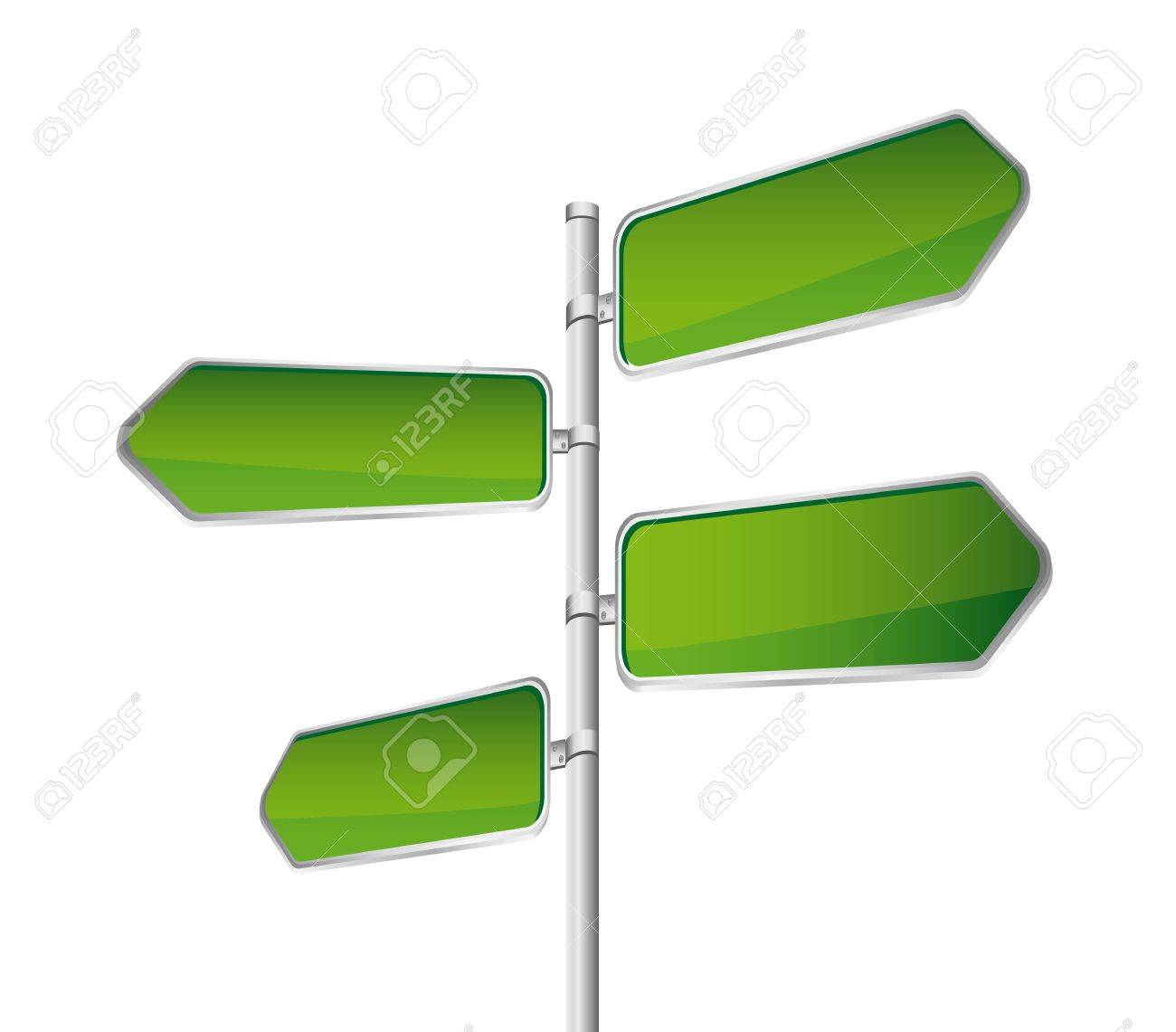 green direction road sign isolated over white backgroun. Stock Vector - 13882208