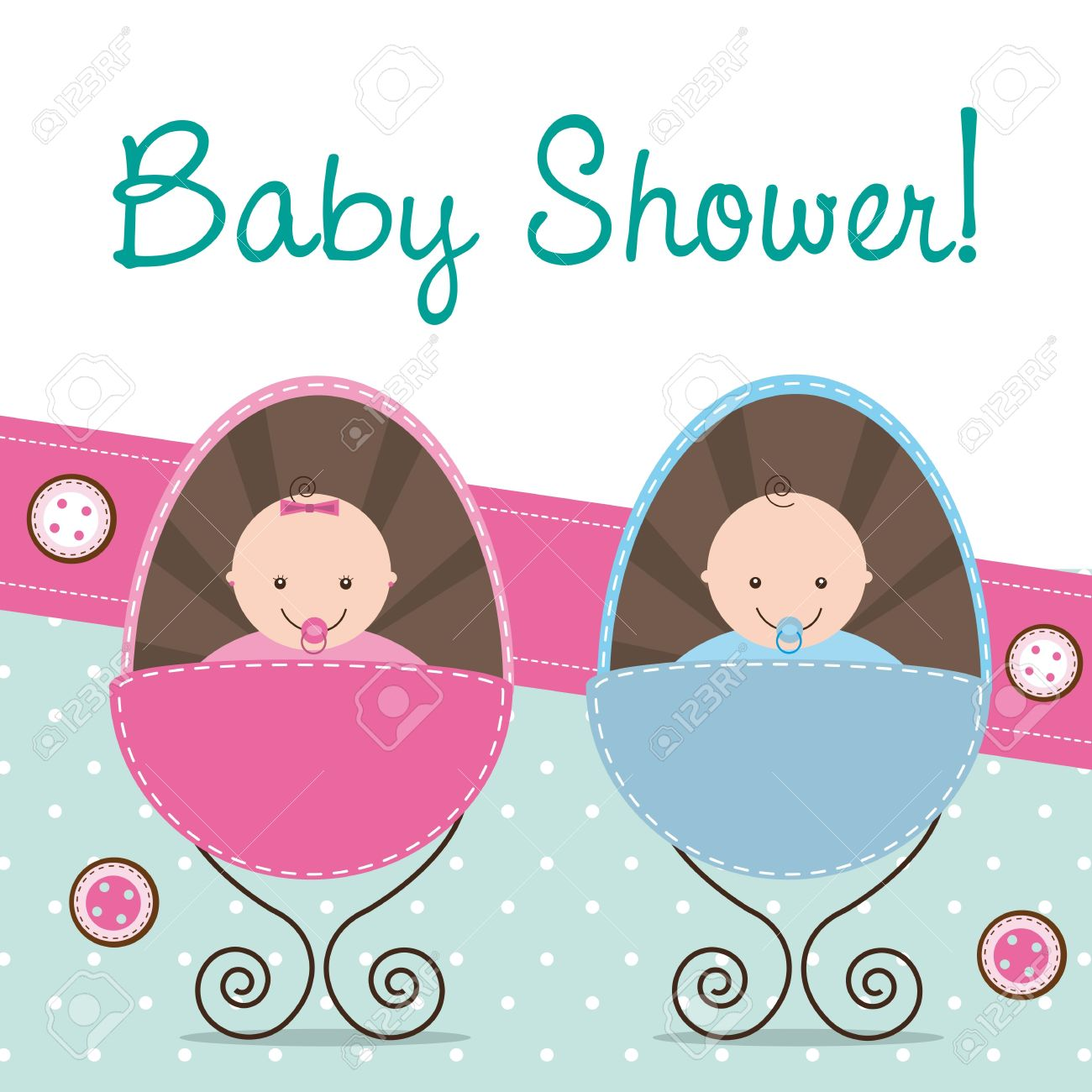 Baby Shower Card With Two Babies. Stock Vector   14038921