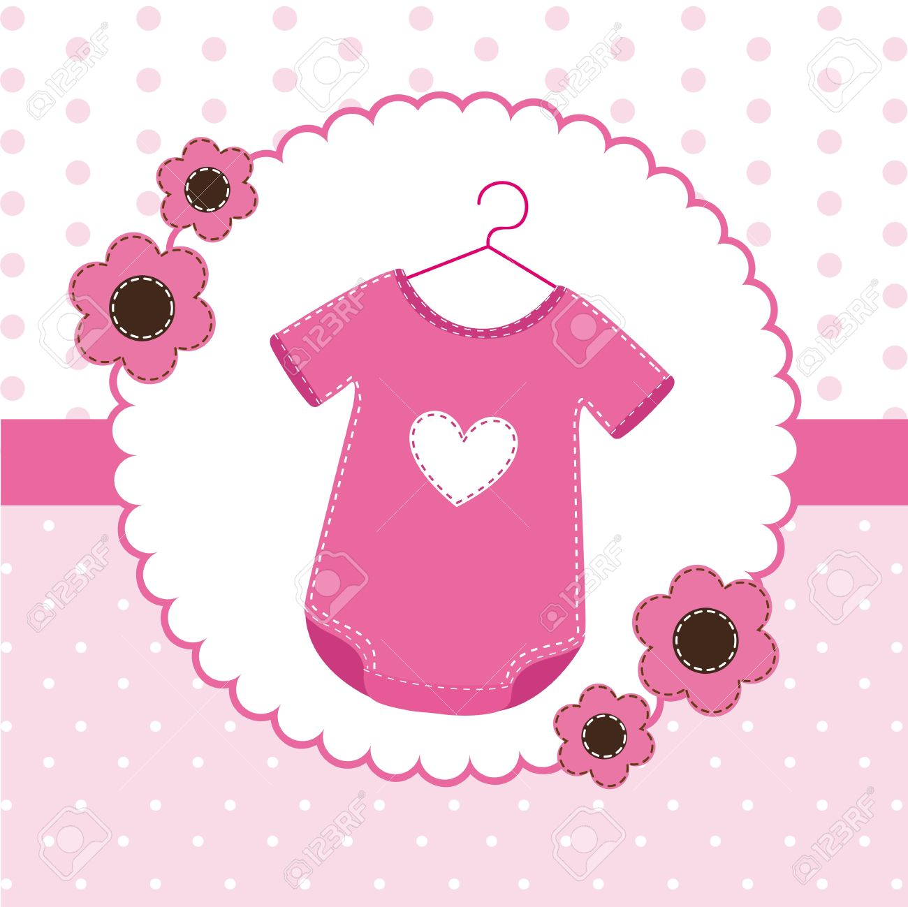 Awesome Pink Baby Shower Card With Clothes Baby. Stock Vector   14039073
