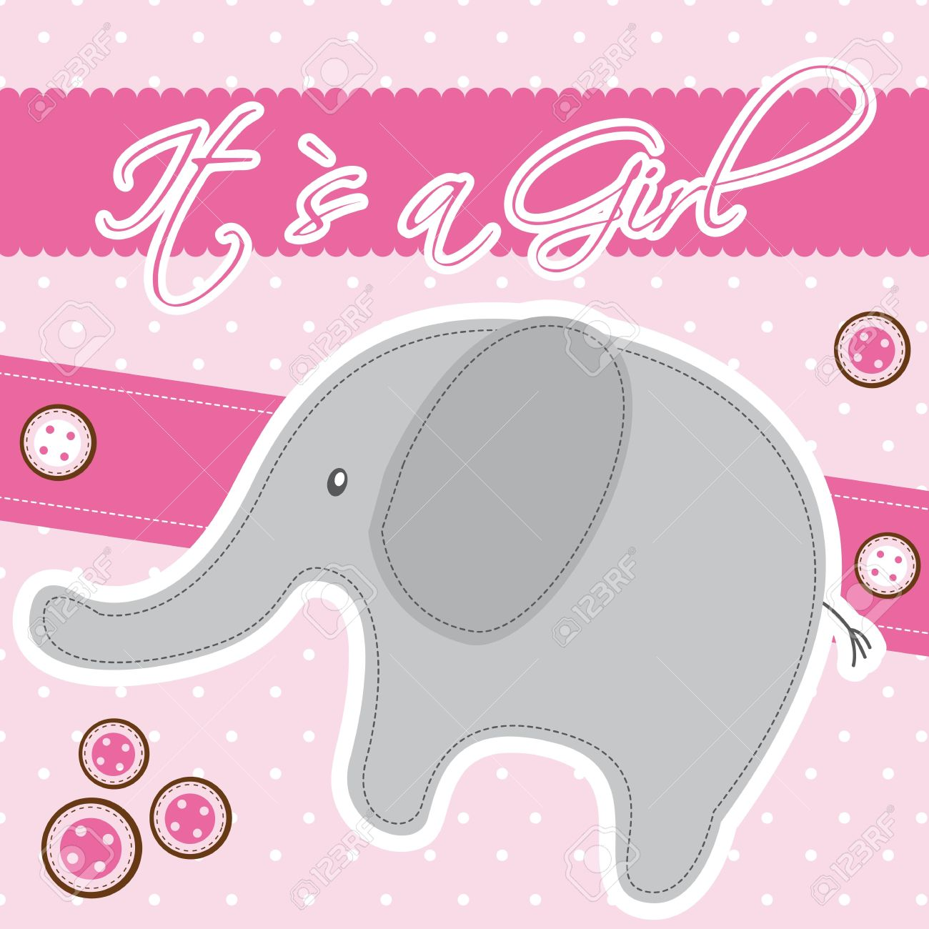 Pink Baby Shower Card With Elephant. Stock Vector   14038952