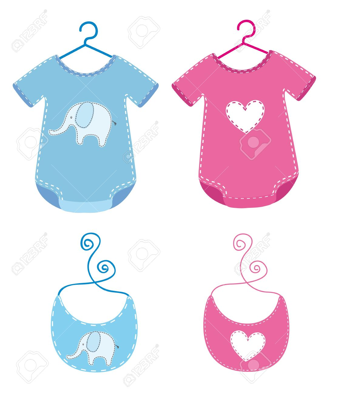baby clothes with bib isolated over white background. Stock Vector - 14039028