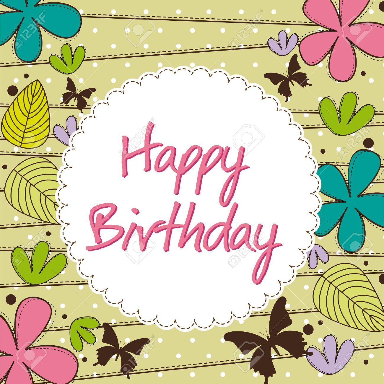 Cute Happy Birthday Card With Flower Royalty Free Cliparts – Flower Greetings for Birthday