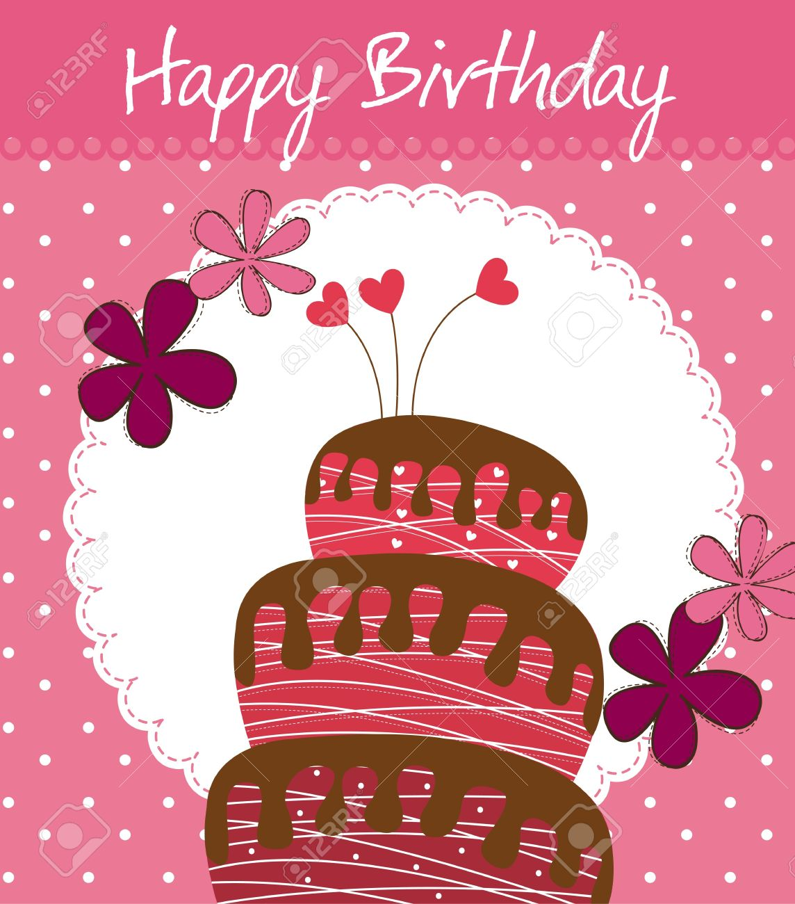 Birthday Card With Cake And Flowers Royalty Free Cliparts Vectors