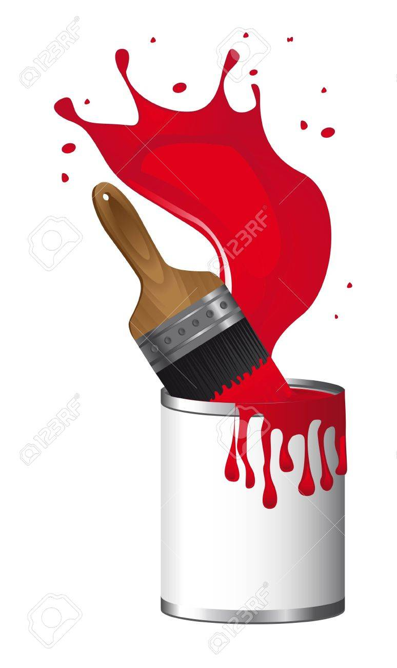 Red Brush Paint With Paint Bottle Over White Background Royalty Free Cliparts Vectors And Stock Illustration Image 14039040