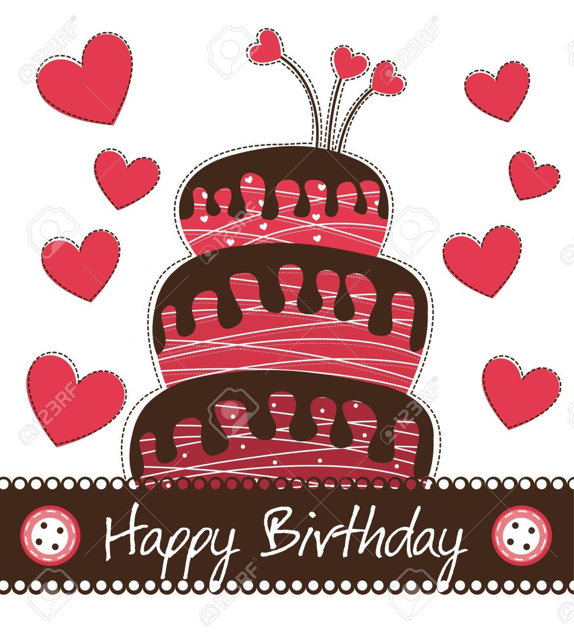 cute cake with hearts over white background, birthday. Stock Vector - 14038962