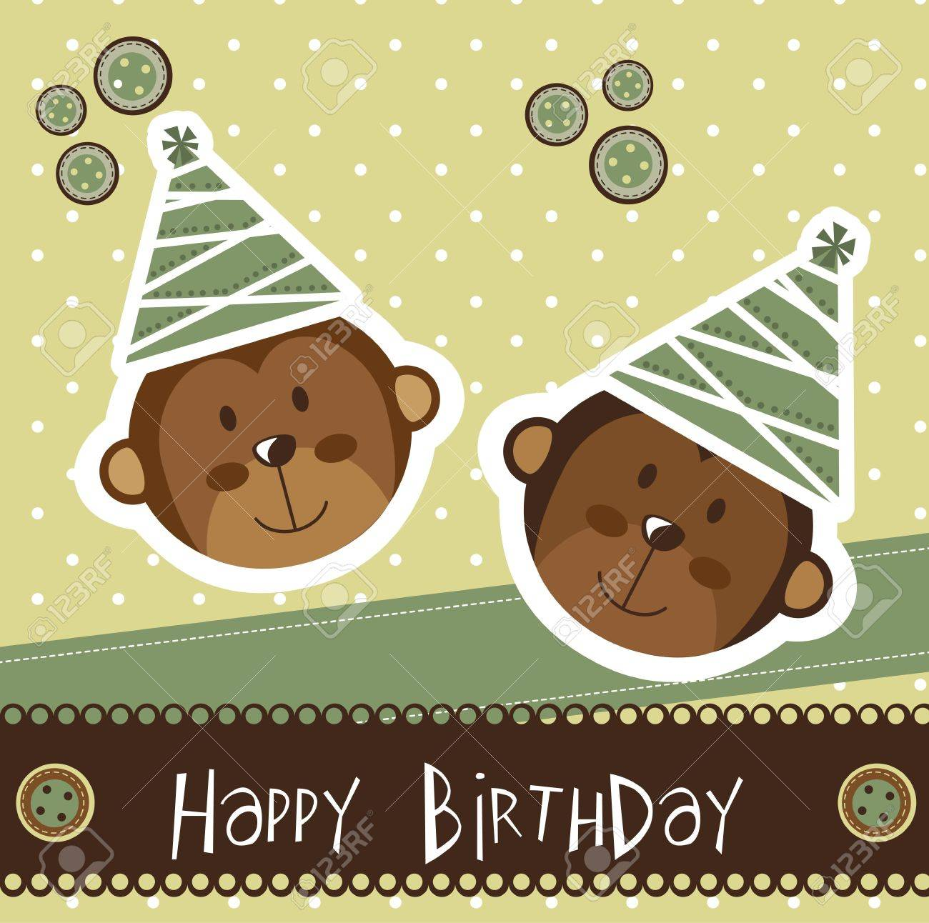 Birthday Card With Cute Monkey Royalty Free Cliparts Vectors – Monkey Birthday Card