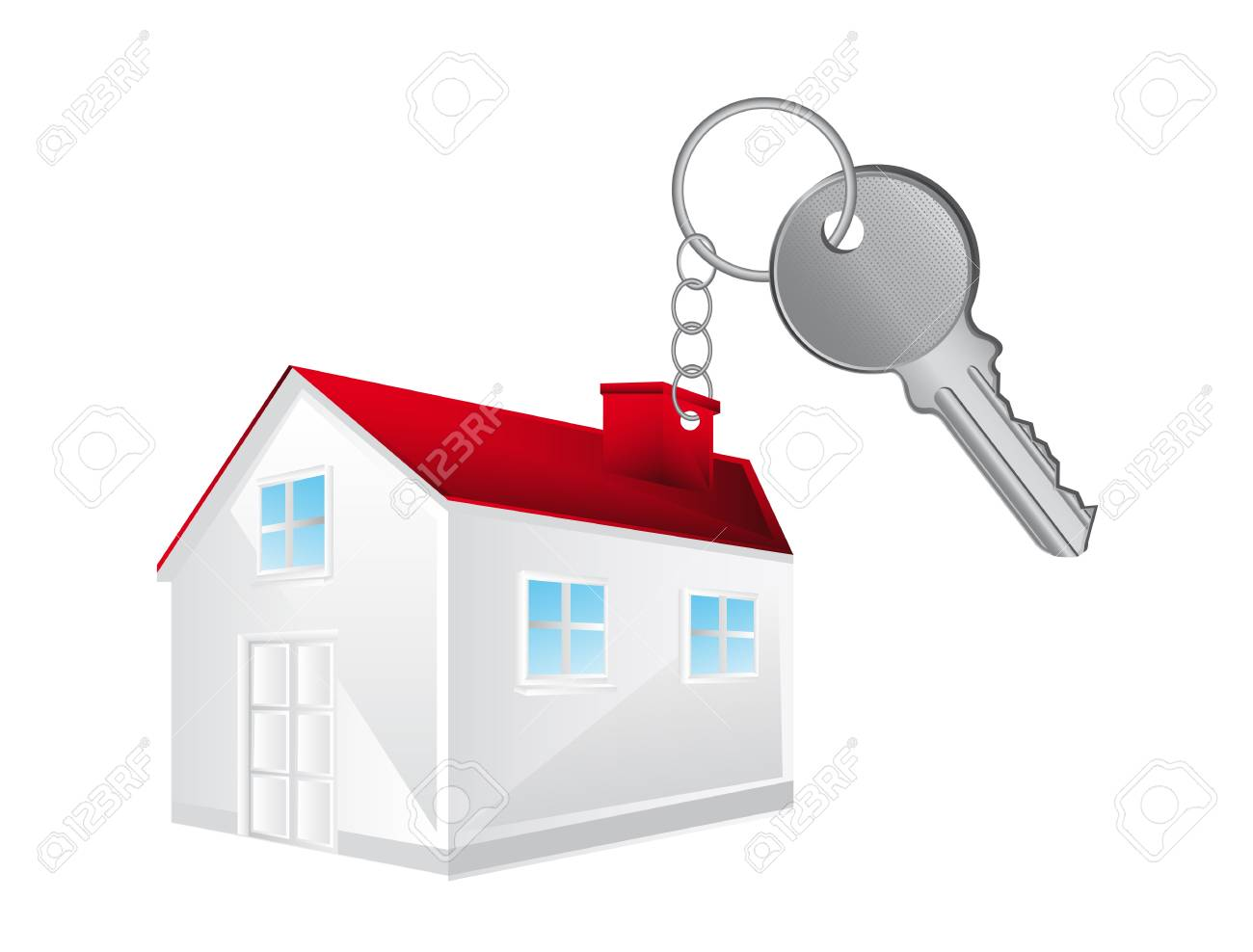 key chain with 3d house over white background. Stock Vector - 14039014