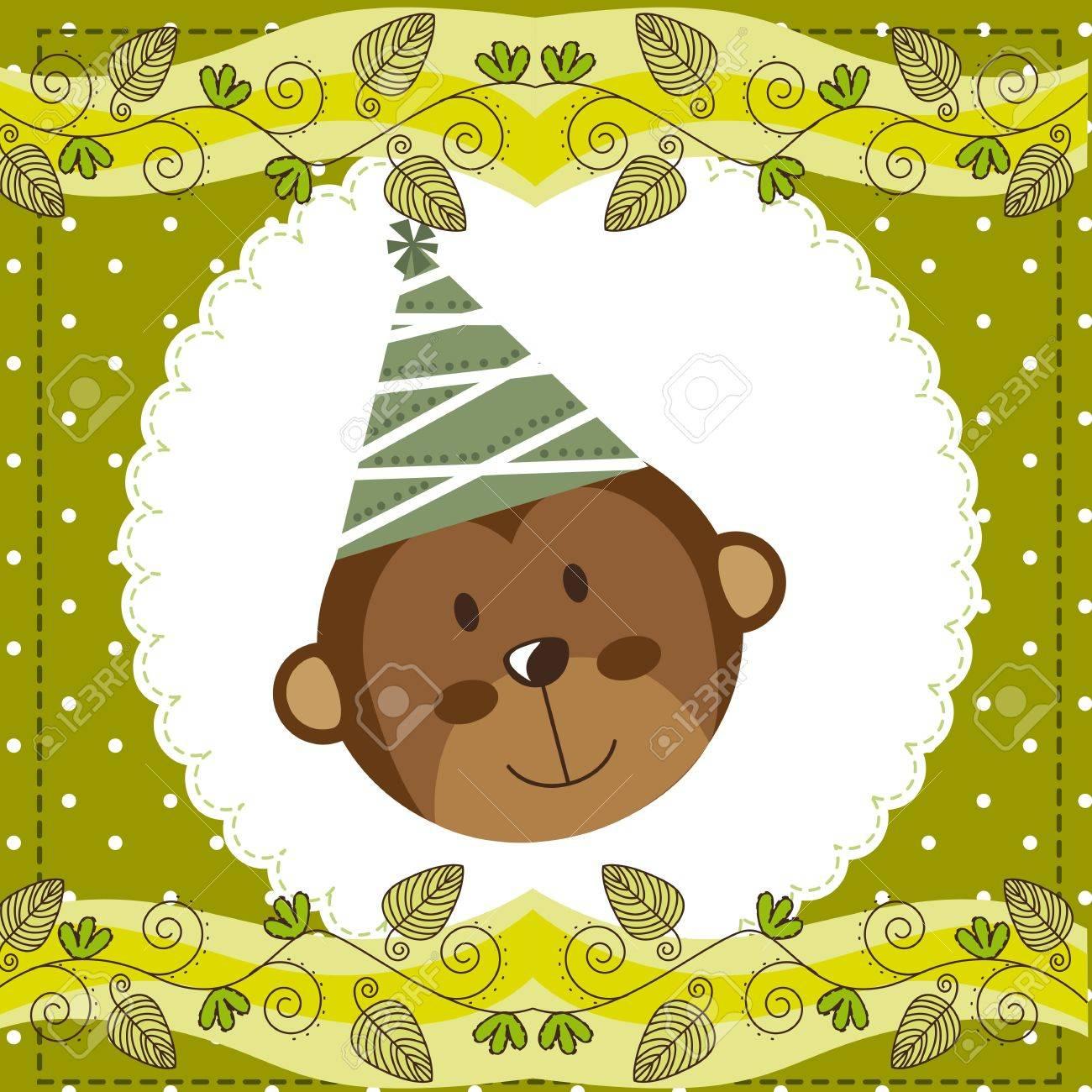 cute face monkey over cute green card. Stock Vector - 14039059