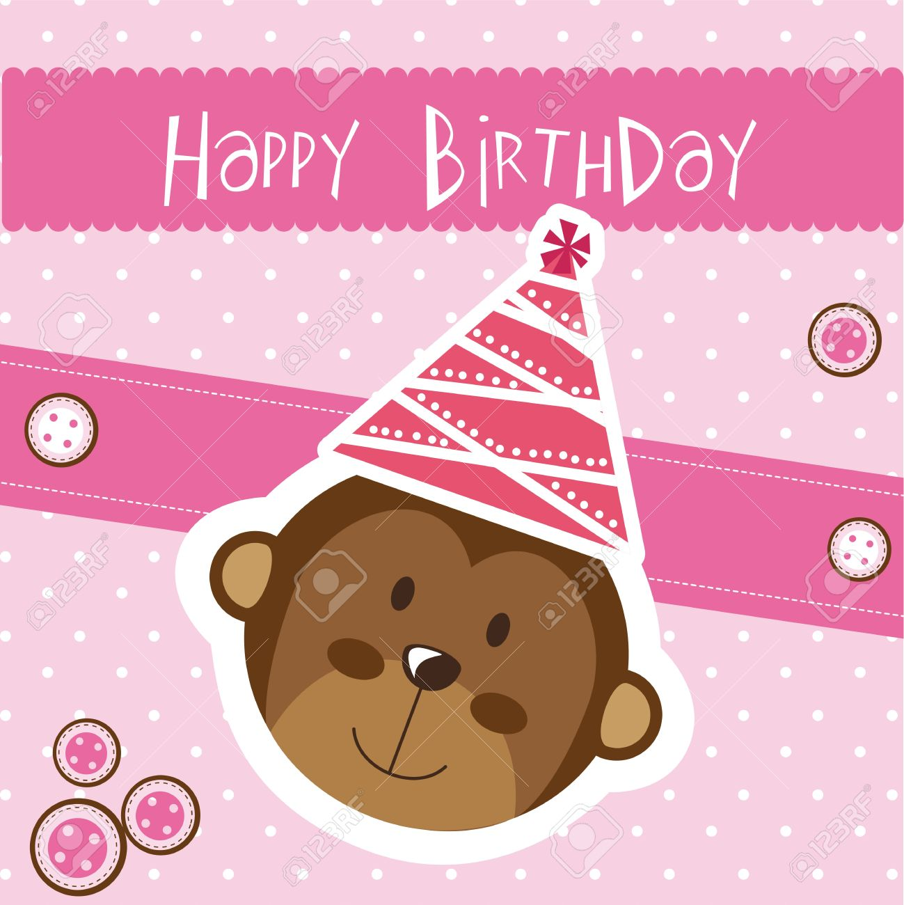 Happy birthday card with monkey pink royalty free cliparts happy birthday card with monkey pink stock vector 14038907 bookmarktalkfo Images