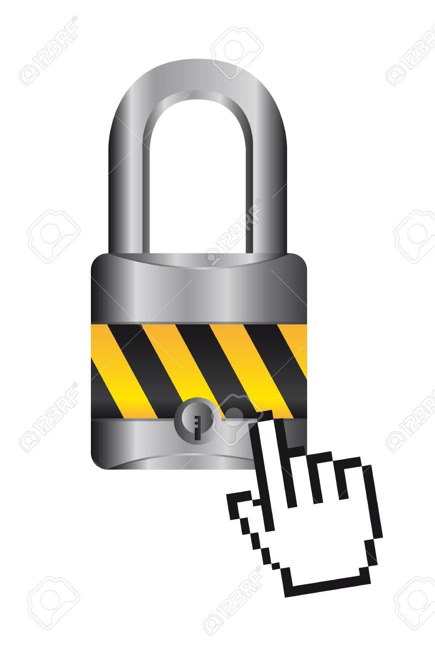 padlock with cursor hand over white background. vector Stock Vector - 14082026