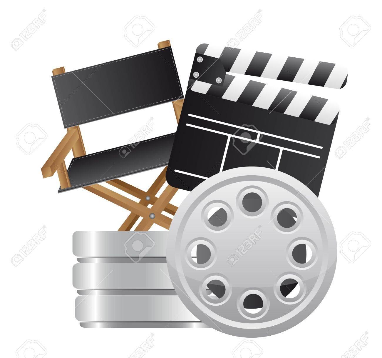 Clap Avec Chaise Metteur En Scene Et Bande Du Film Vecteur Clip Art