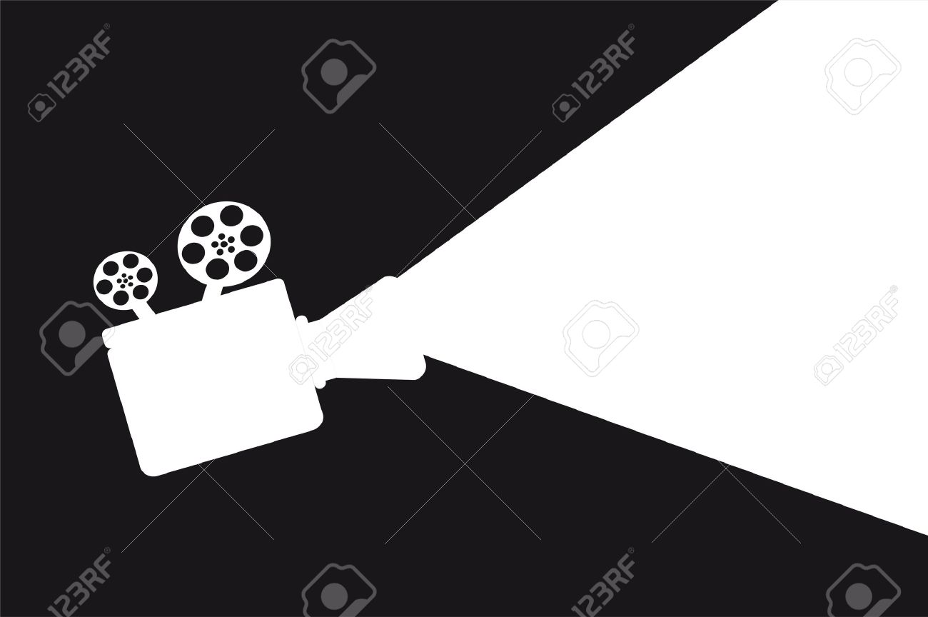 silhouette movie projector with space for copy. vector illustration - 14082017