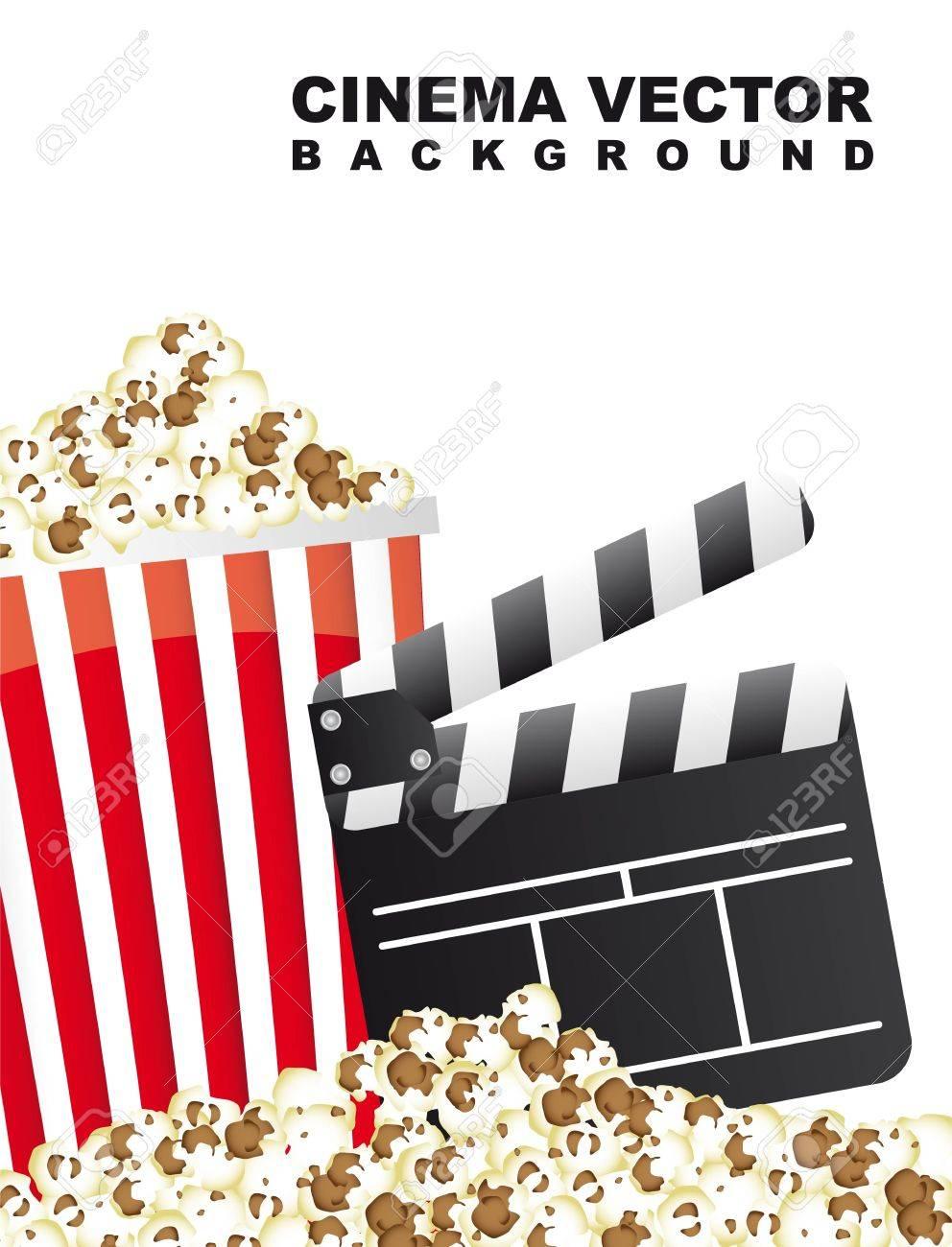pop corn with clapper board, cinema. vector illustration Stock Vector - 14082084