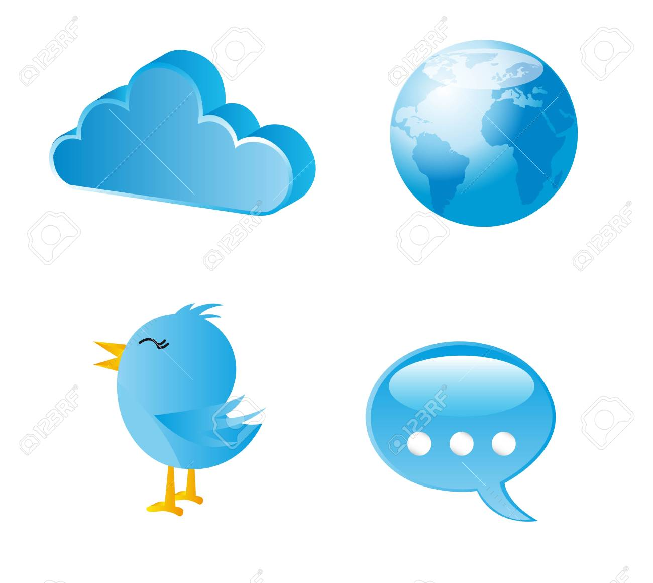 blue icons communication over white background. vector illustration Stock Vector - 14074370