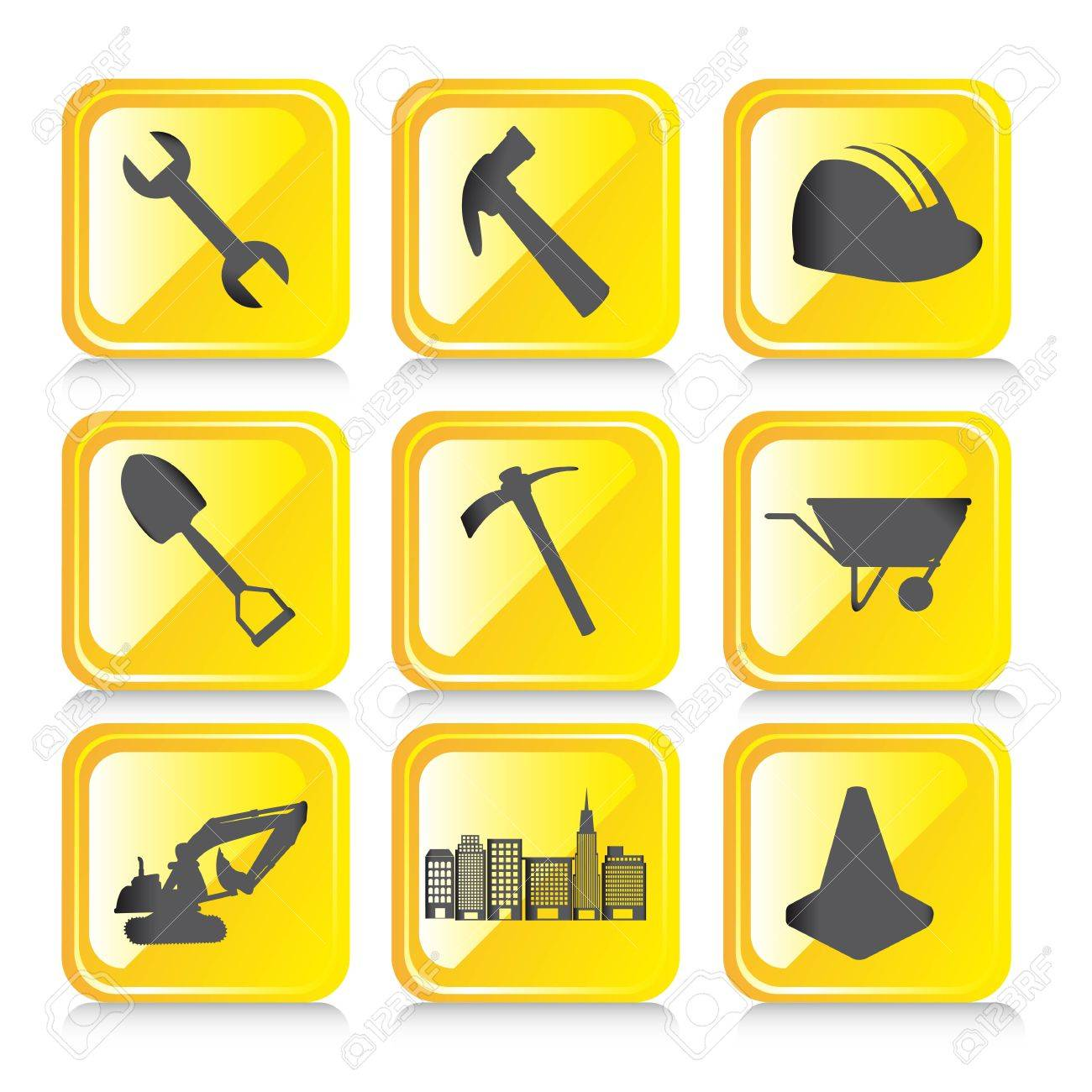 yellow construction icons with shadow over white background. vector Stock Vector - 14082083