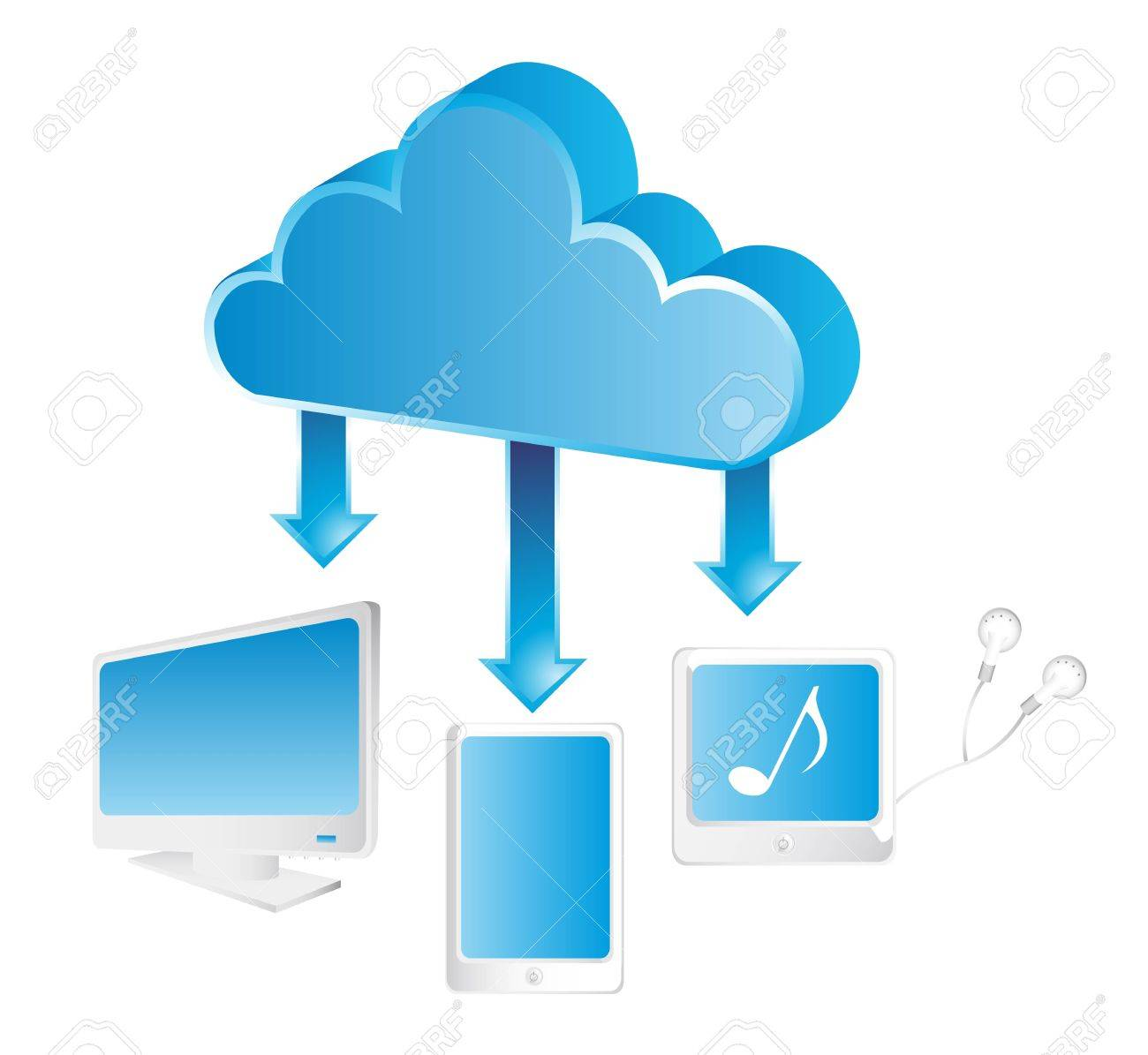blue cloud communication with elements. vector illustration Stock Vector - 14082061