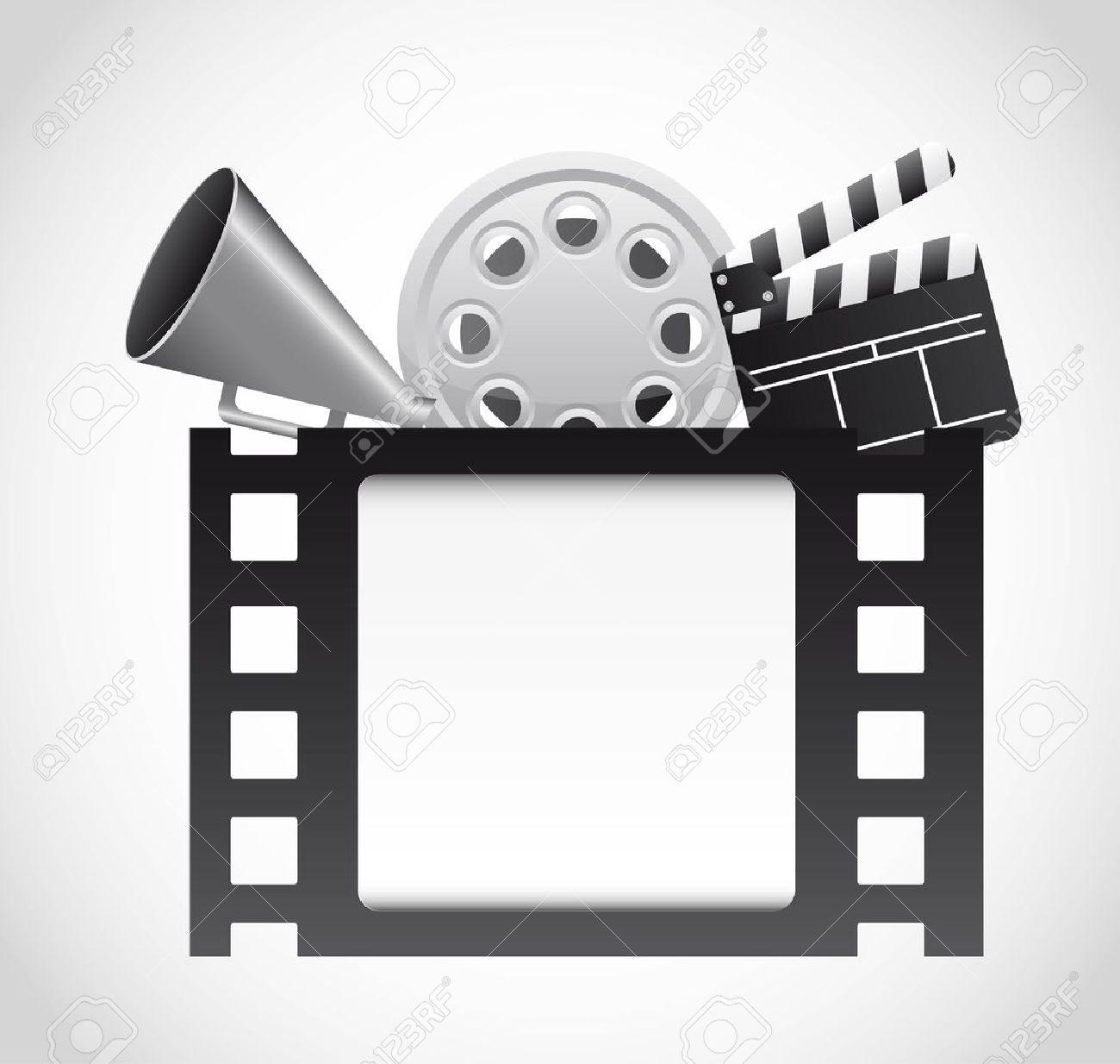 Bande de film avec des éléments du cinéma sur fond gris. vecteur