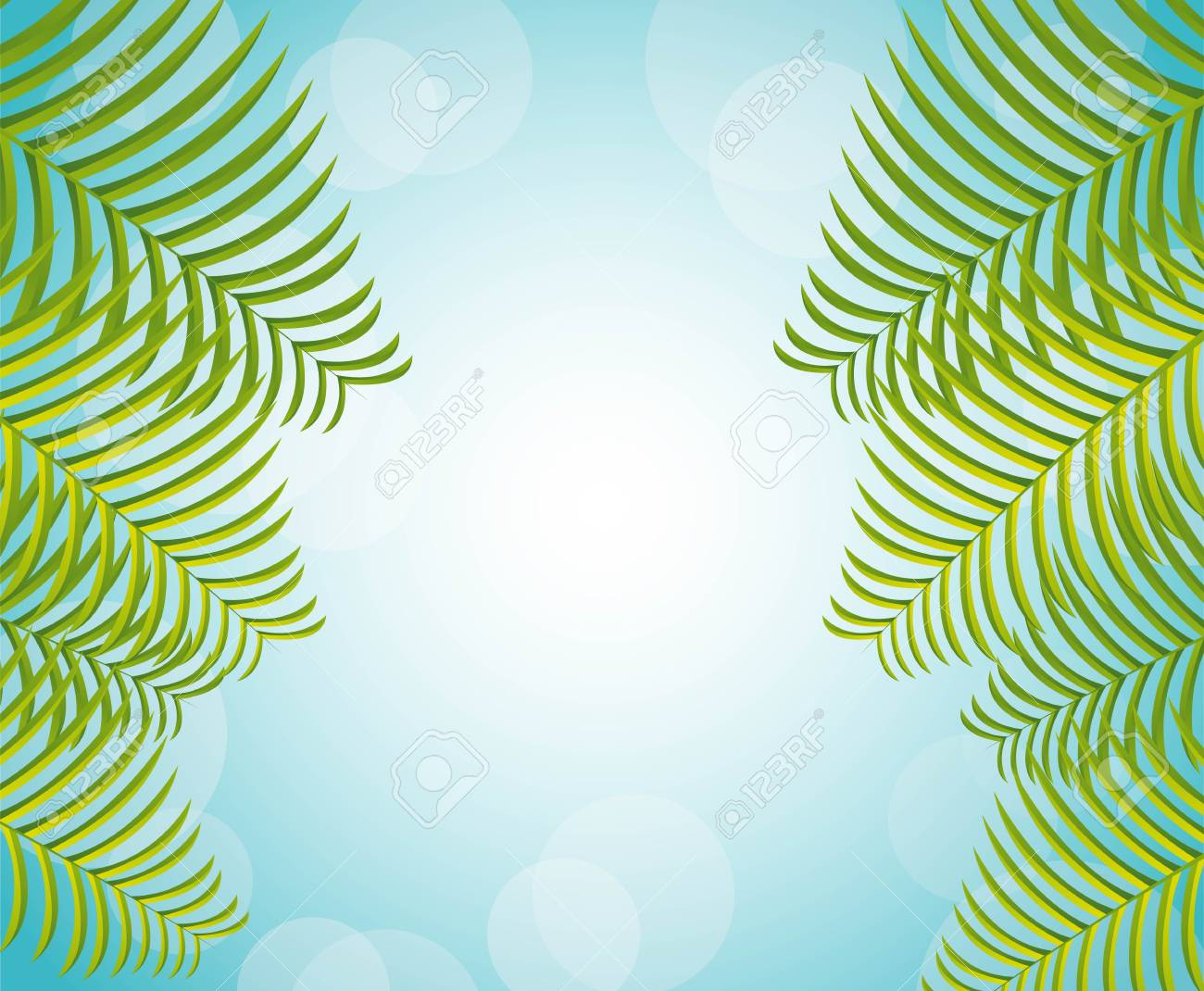 palms over blue background, nature Stock Vector - 14215116