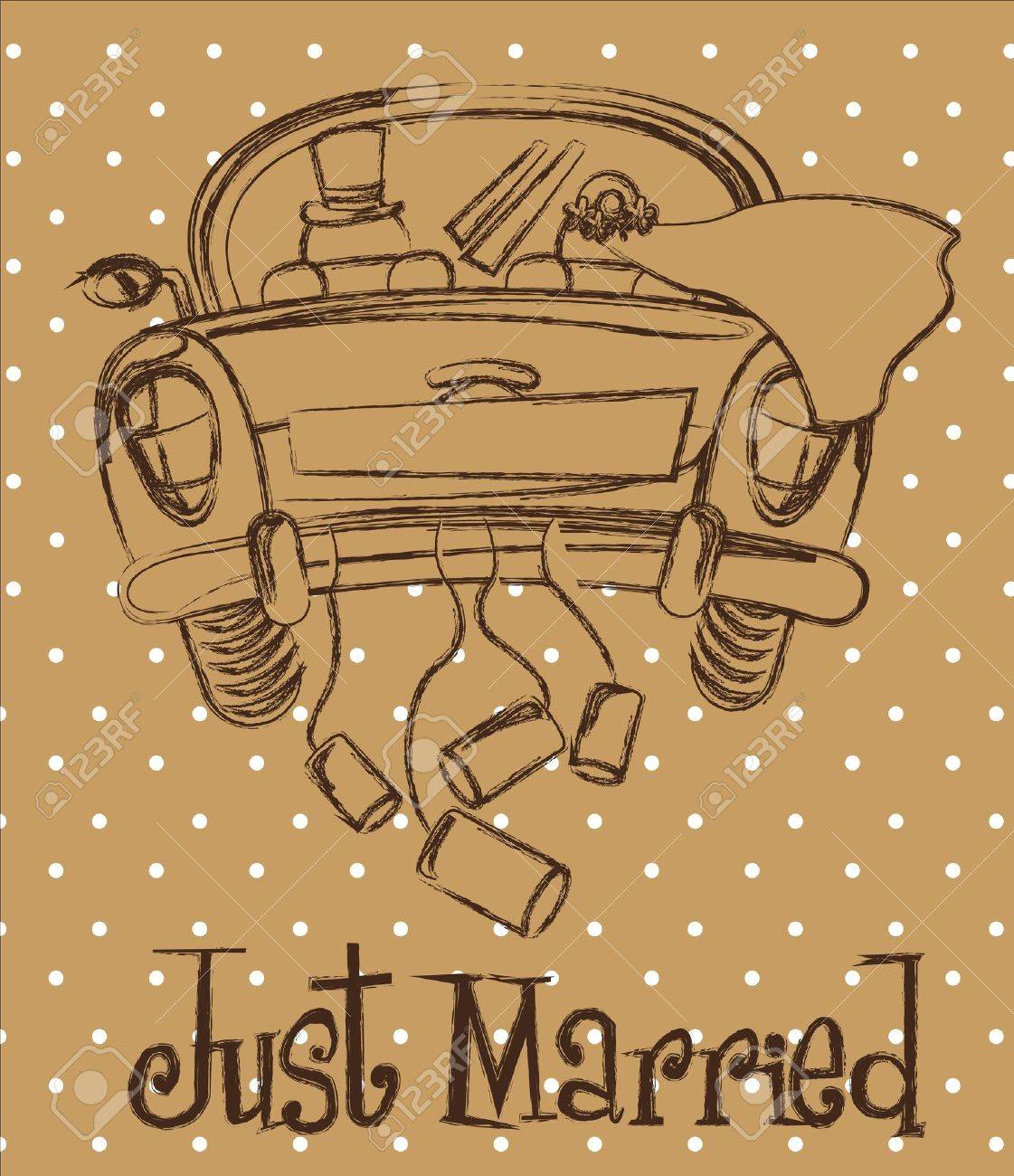 just married car over brown background, grunge - 14215141