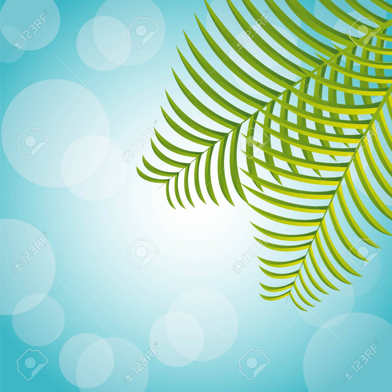 palm over blue background, nature Stock Vector - 14215066