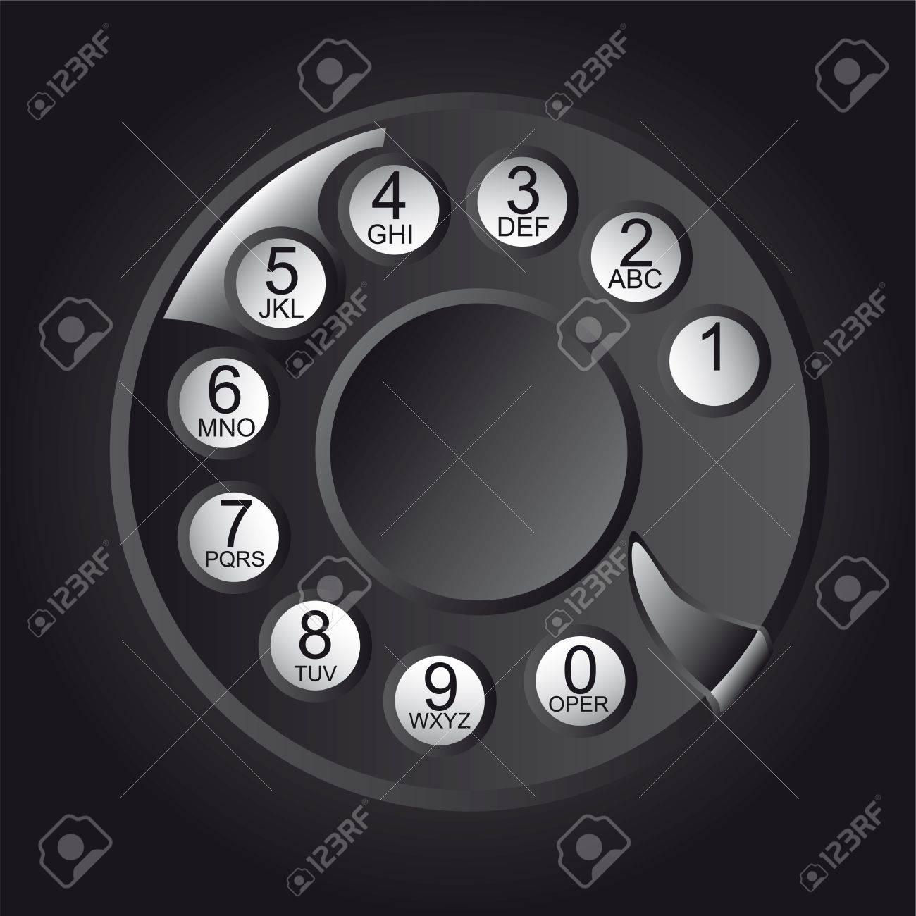 Rotary Phone Dial with numbers and letters