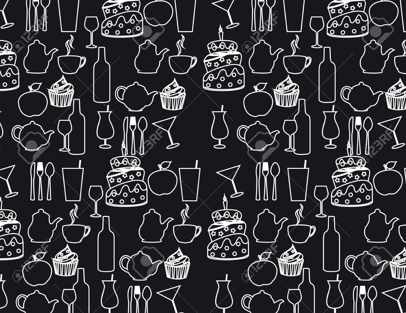 Black and white silhouette food background