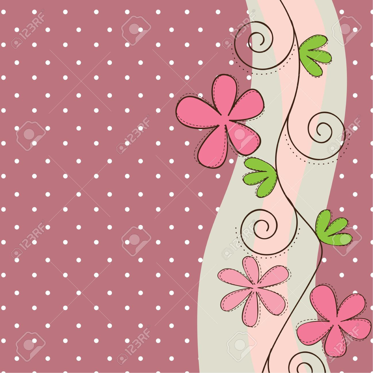 Pink and green flowers background, space to insert text or design Stock Vector - 14375051