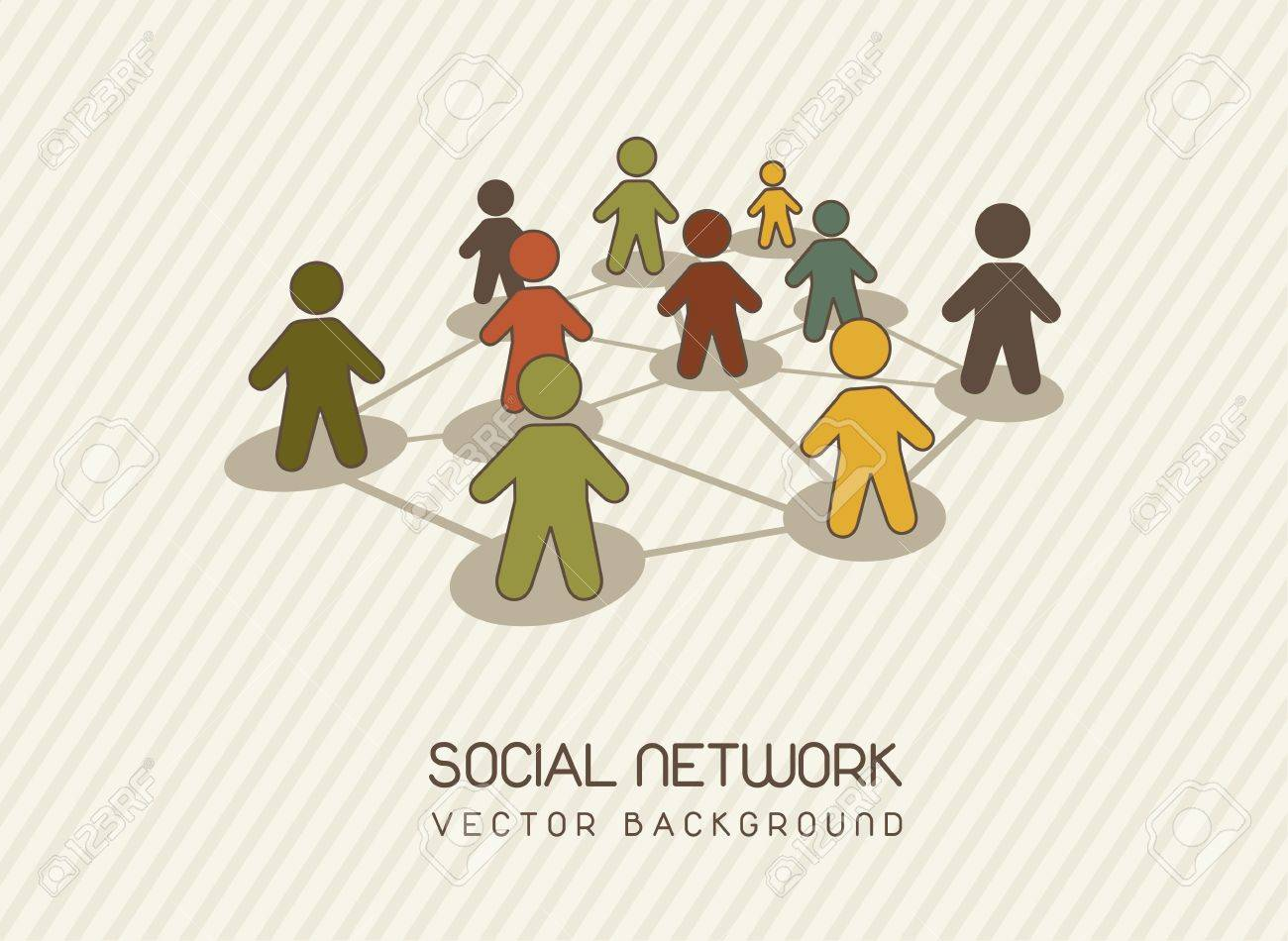 social network with men icons, vintage. vector illustration Stock Vector - 14452477