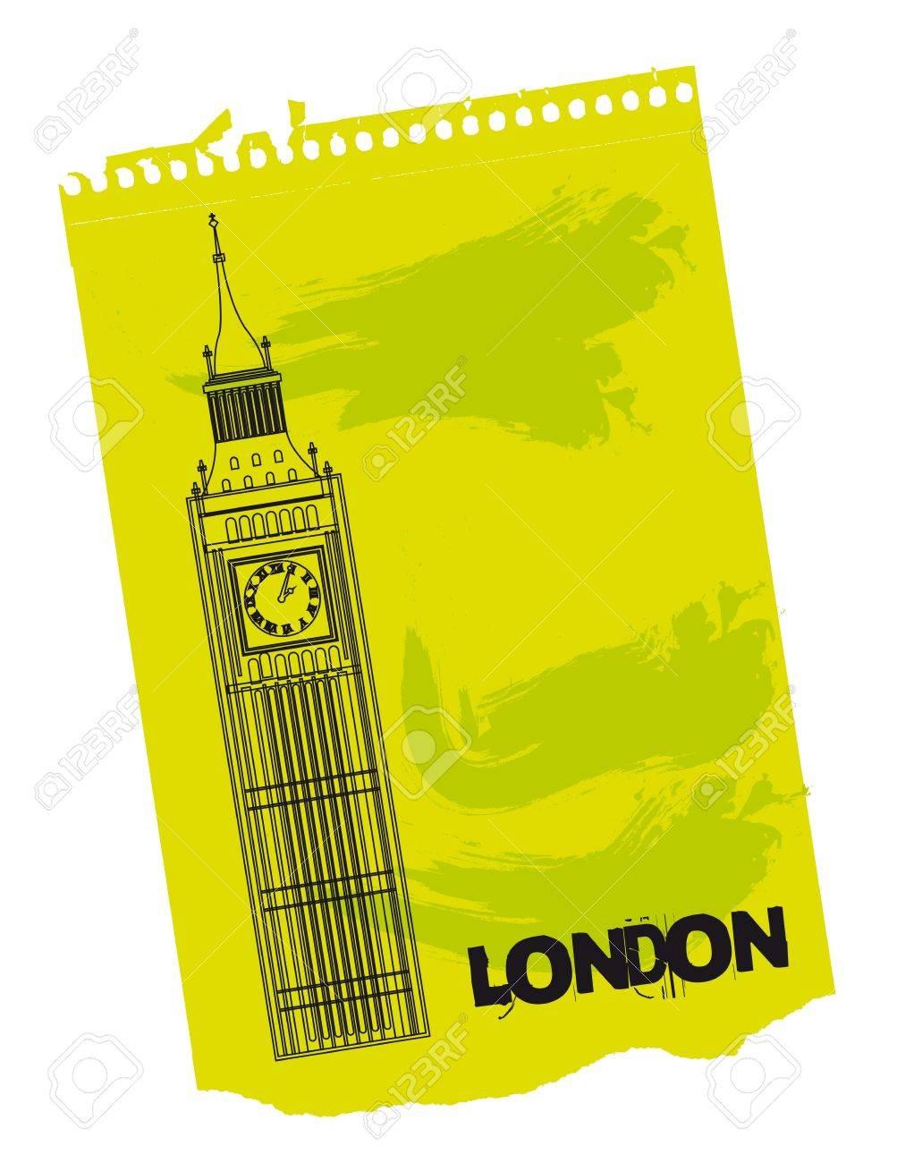 緑色の紙の上のロンドンの時計台ベクトル イラストのイラスト素材