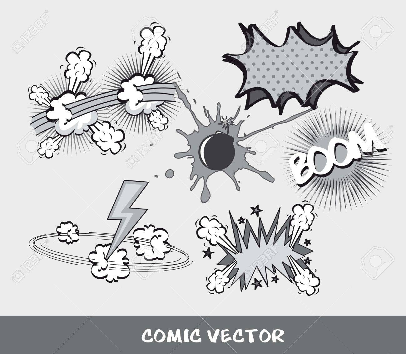 set comic book, black and white.  vector illustration Stock Vector - 14452593