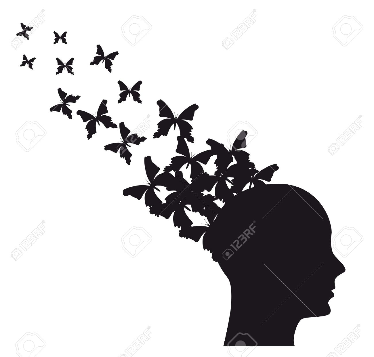 Butterflies Flying Away Black And White Clipart