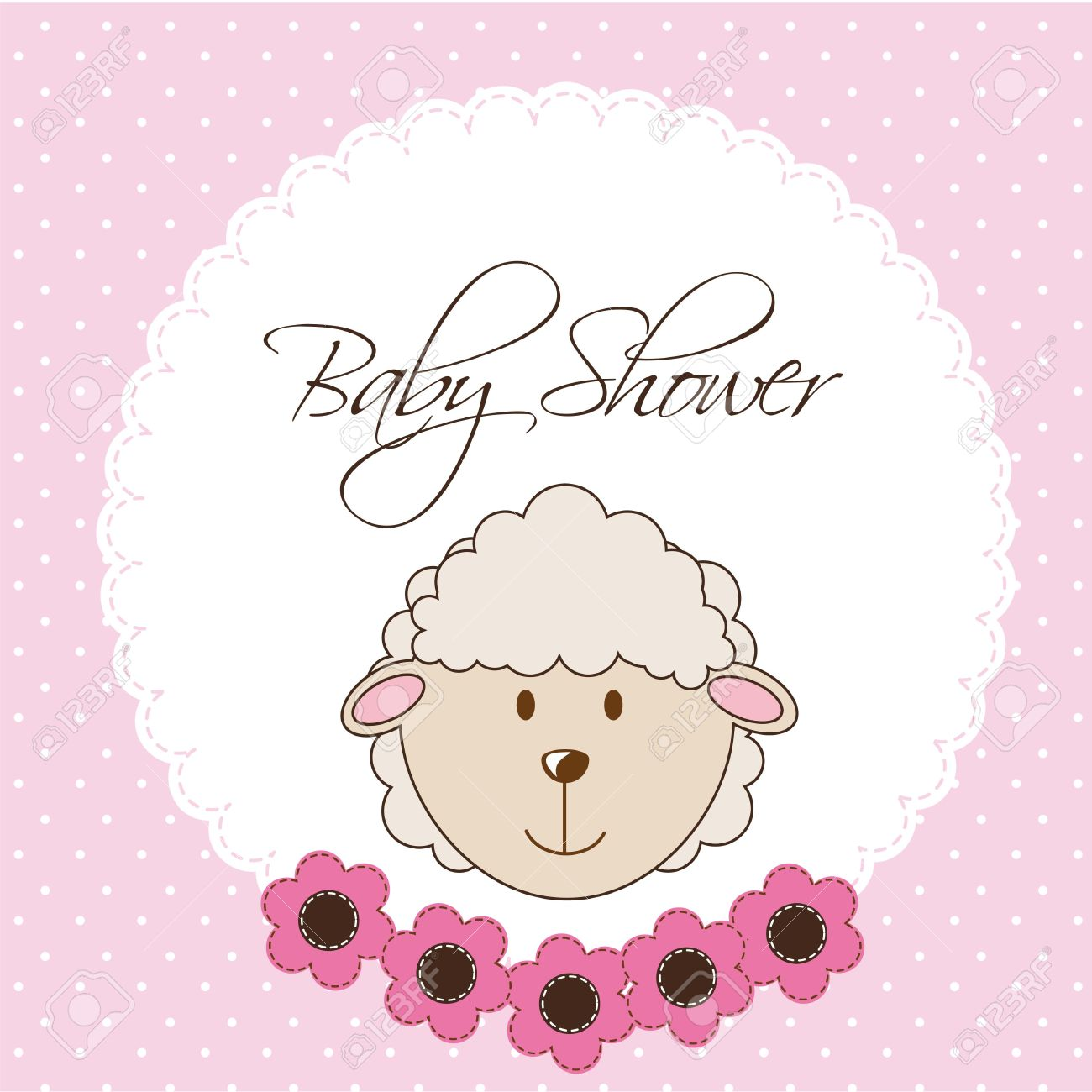 pink baby shower card with sheep. vector illustration Stock Vector - 14553035