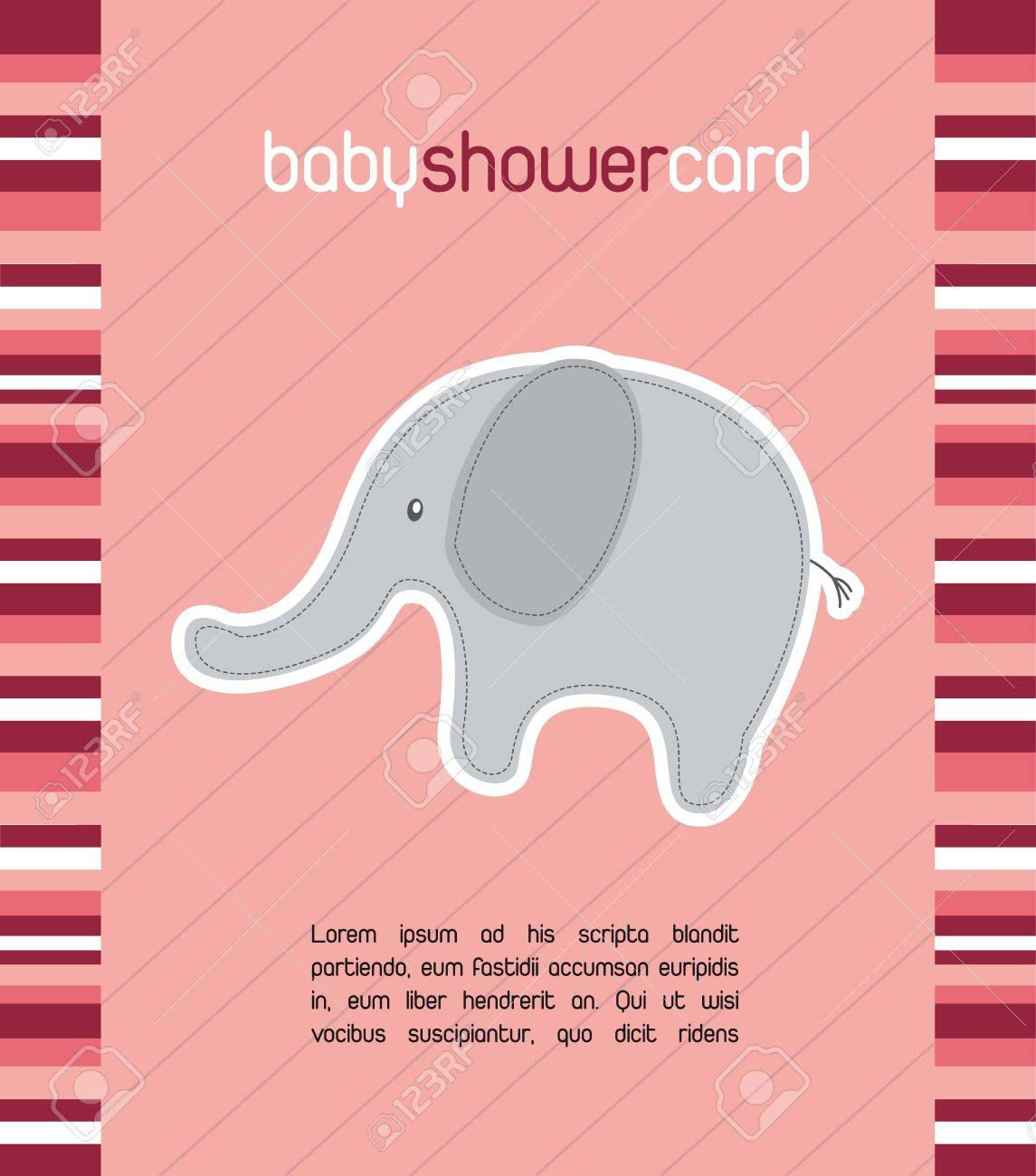 pink baby shower card with cute elephant. vector illustration Stock Vector - 14553022