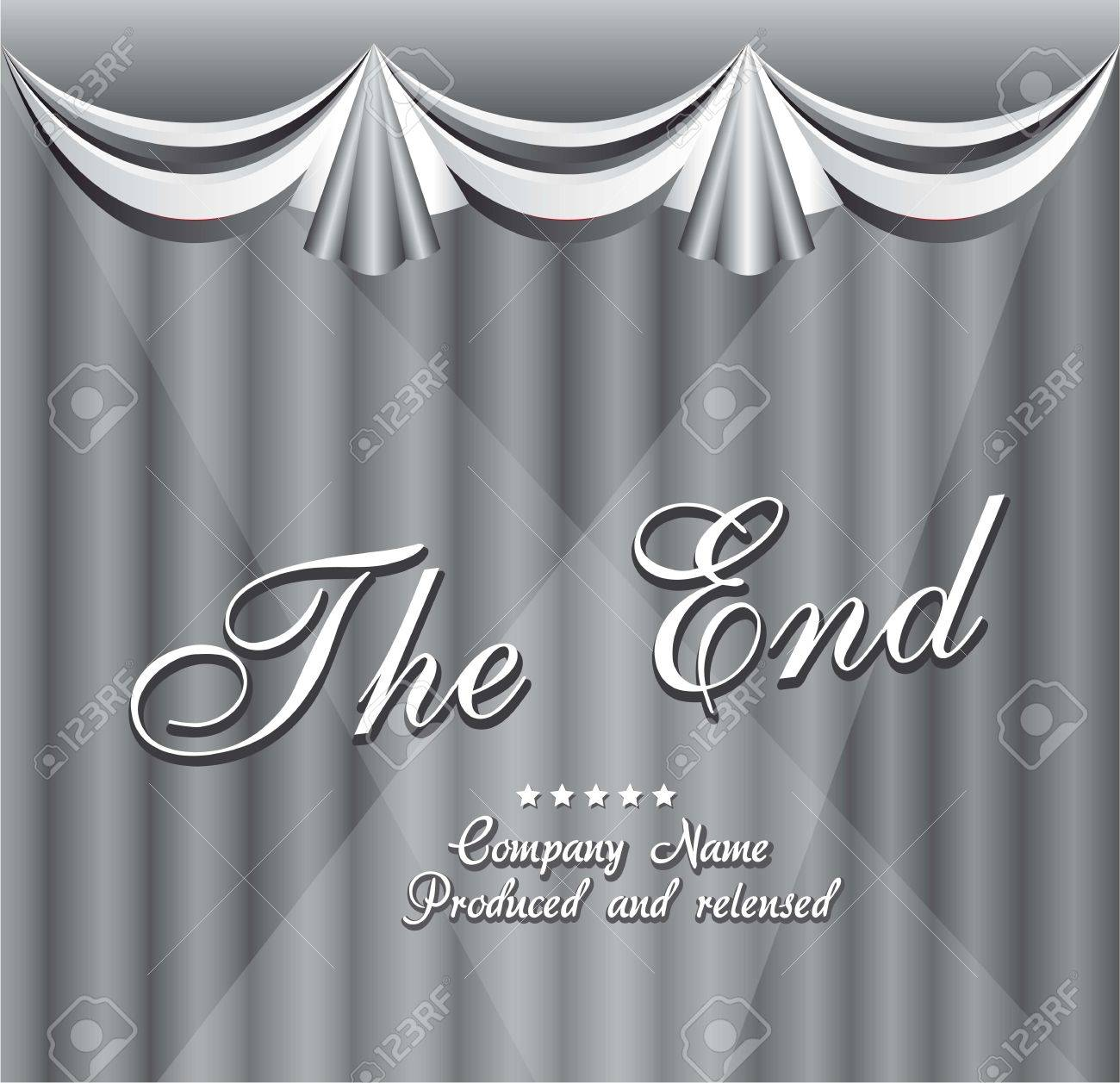 Movie ending screen with curtain. vector illustration Stock Vector - 14553103
