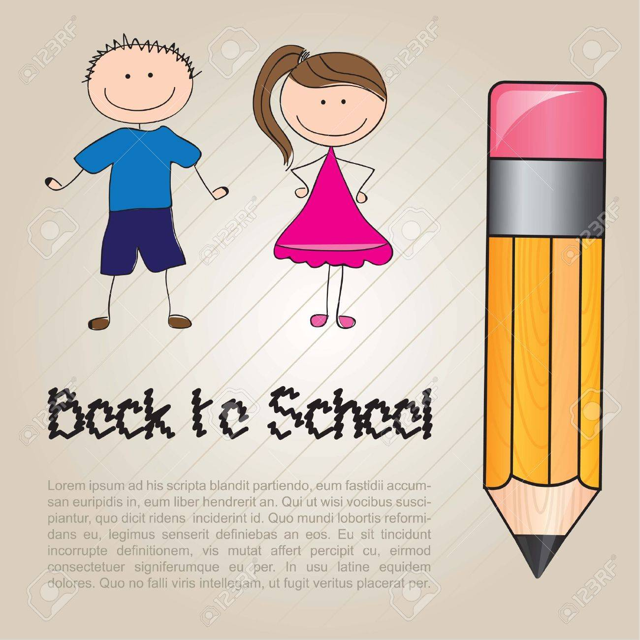 card back to school with two children Stock Vector - 14654910