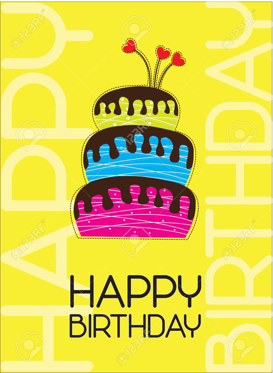 Happy Birthday Card With A Big Cake Stock Vector