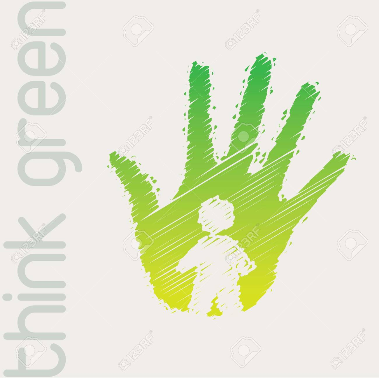 Green hand with person in signal of protection Stock Vector - 14751313