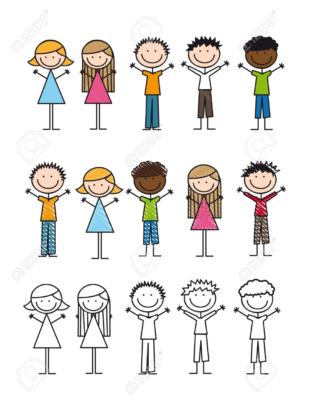 children drawing isolated over white background. vector Stock Vector - 14751772