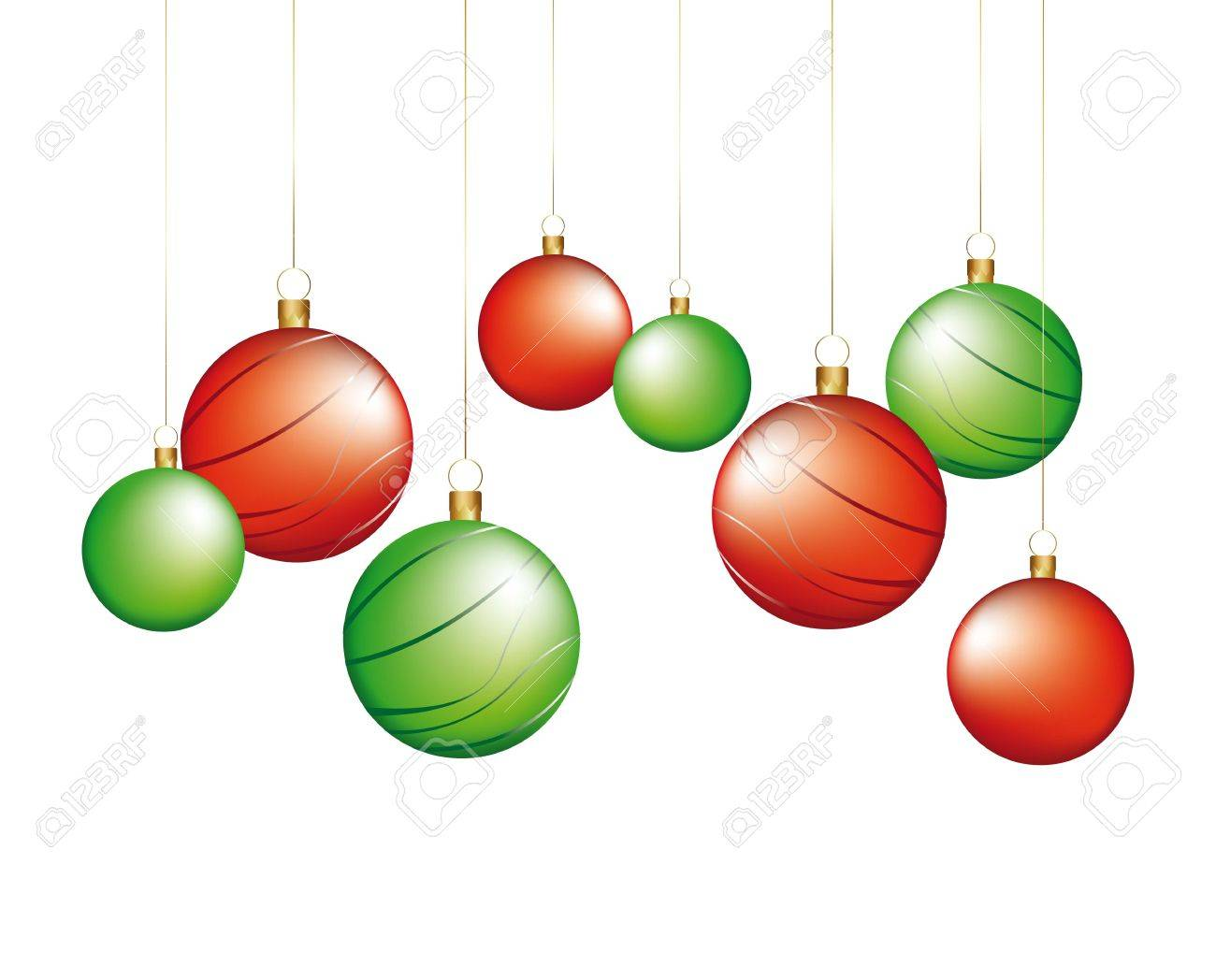 Red And Green Christmas Balls Isolated Illustration Stock Vector