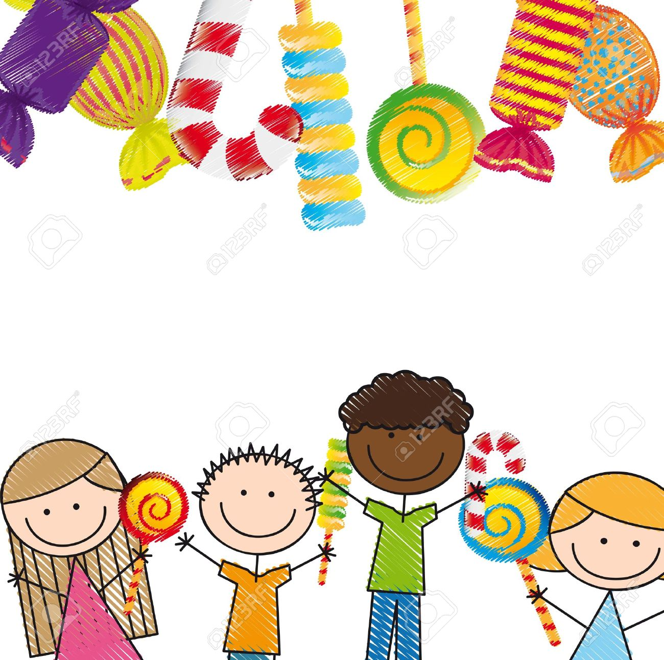 candies and children over white background. illustration Stock Vector - 14751981