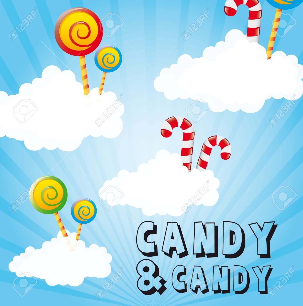 candies over clouds, sky background. illustration Stock Vector - 14751728