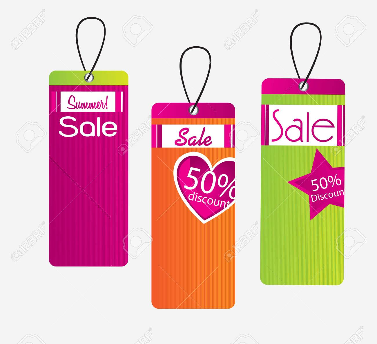 Tags sale of different colors over white background Stock Vector - 14792781