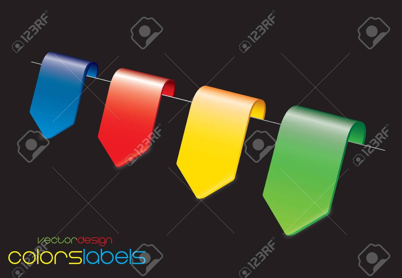 Yellow, red,blue and green labels over black background Stock Vector - 14792848