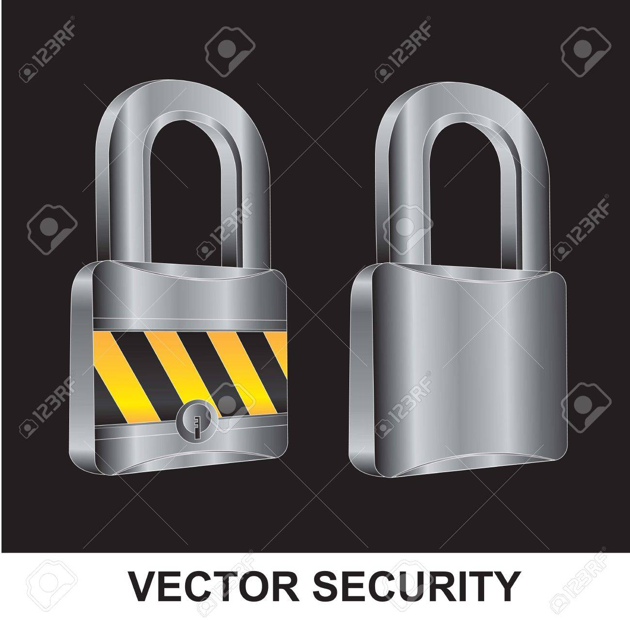 two locks in different positions over black background Stock Vector - 14792780
