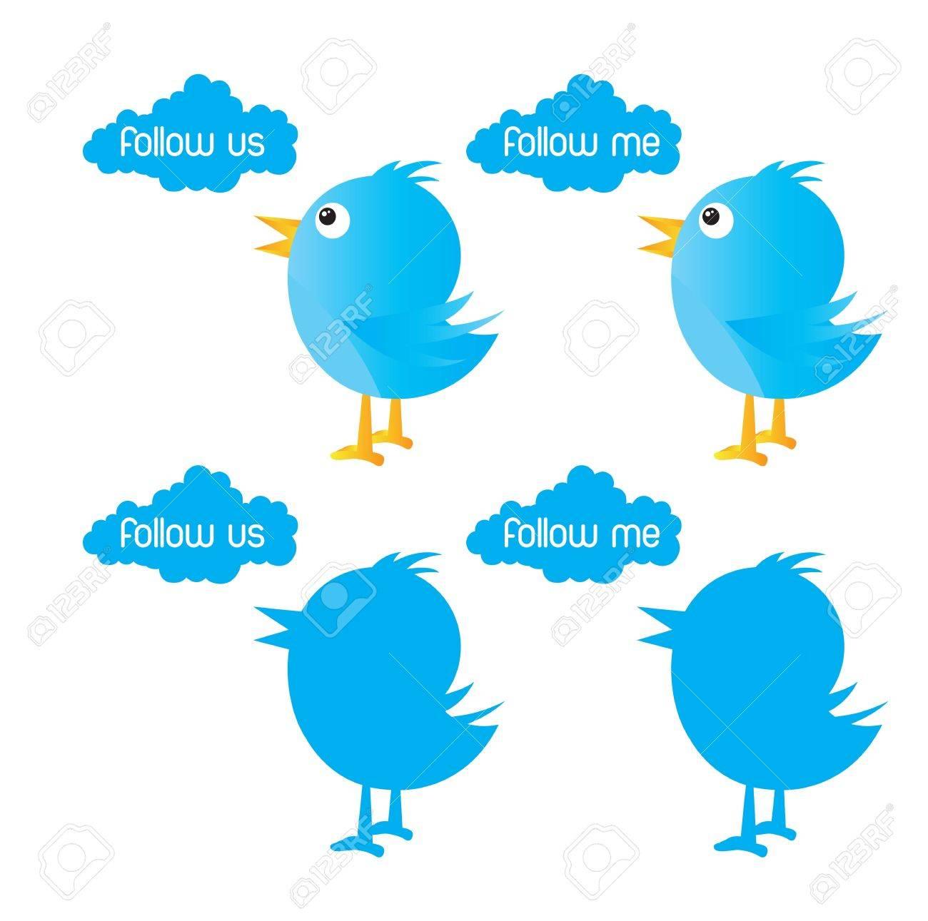 bird symbol inviting follow over white background Stock Vector - 14792783