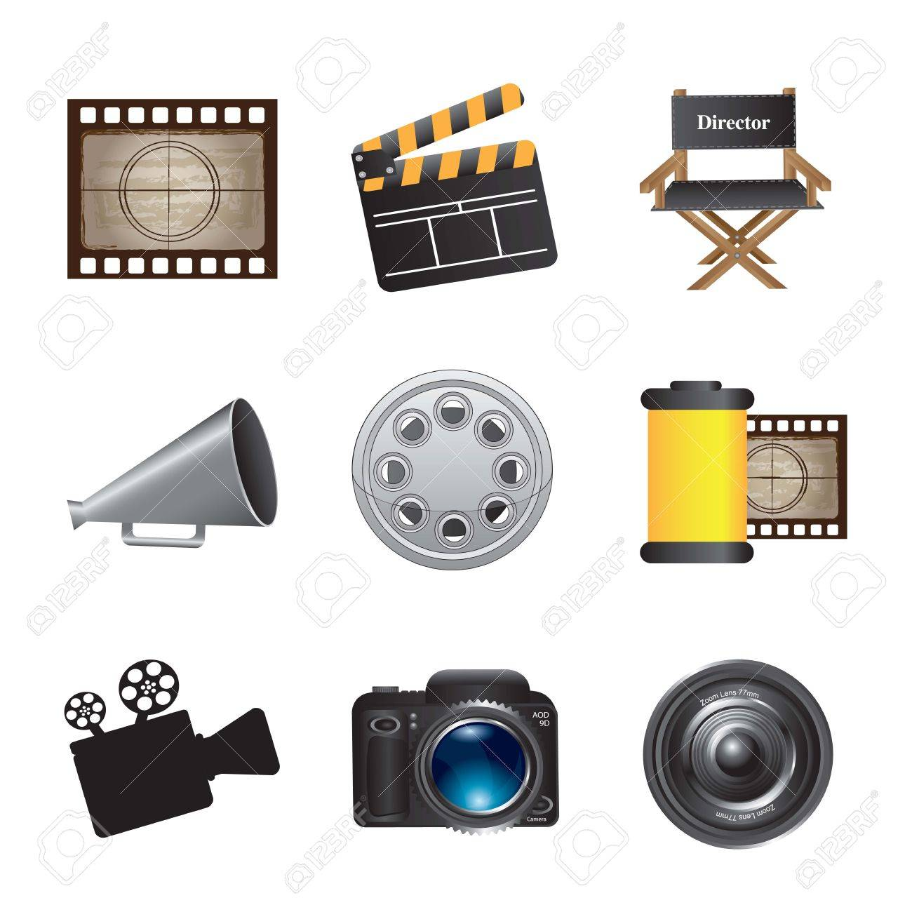 icons movie over white background - 14792941